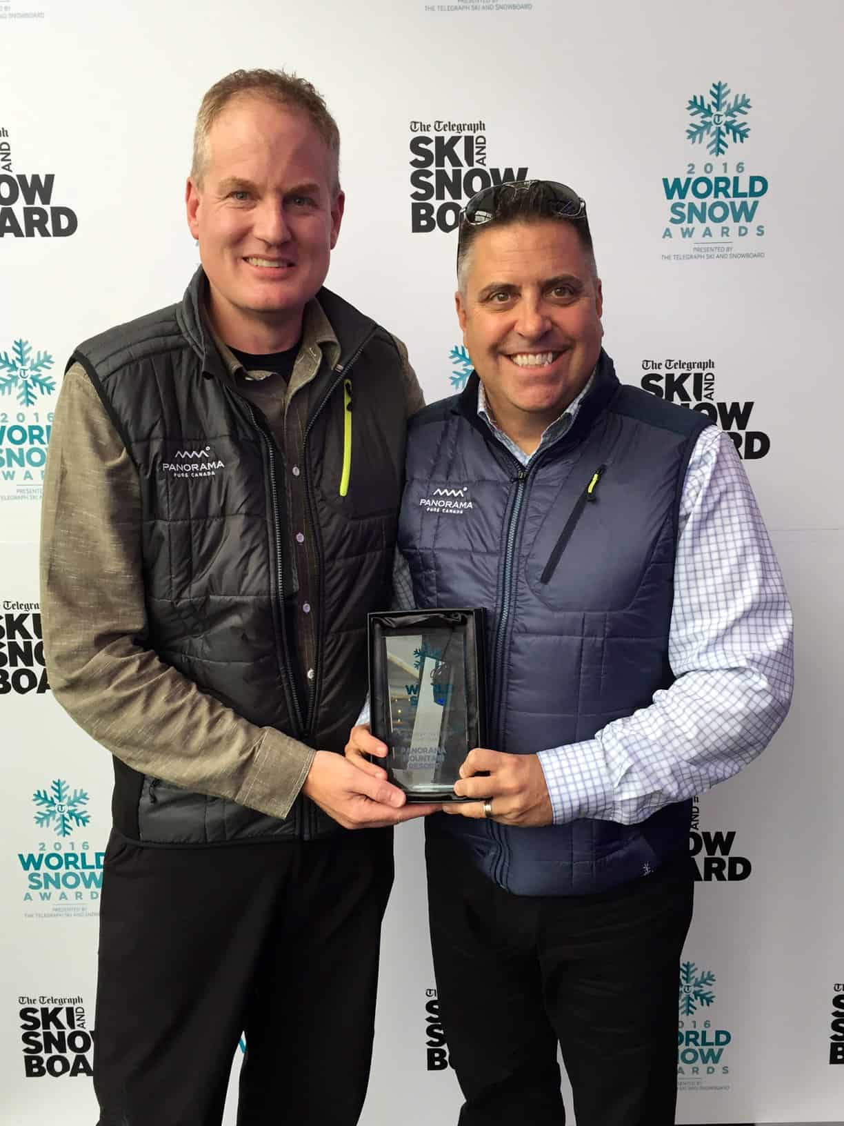 Marke Dickson (left) and Steve Paccagnan (right) of Panorama Mountain Resort accepting the award for North American Resort of the Year at a reception in London UK as part of The Telegraph Ski and Snowboard Show. Photo credit: Panorama Mountain Resort