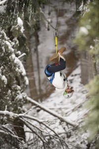 Ziptrek Ecotours Girl zipping through snow